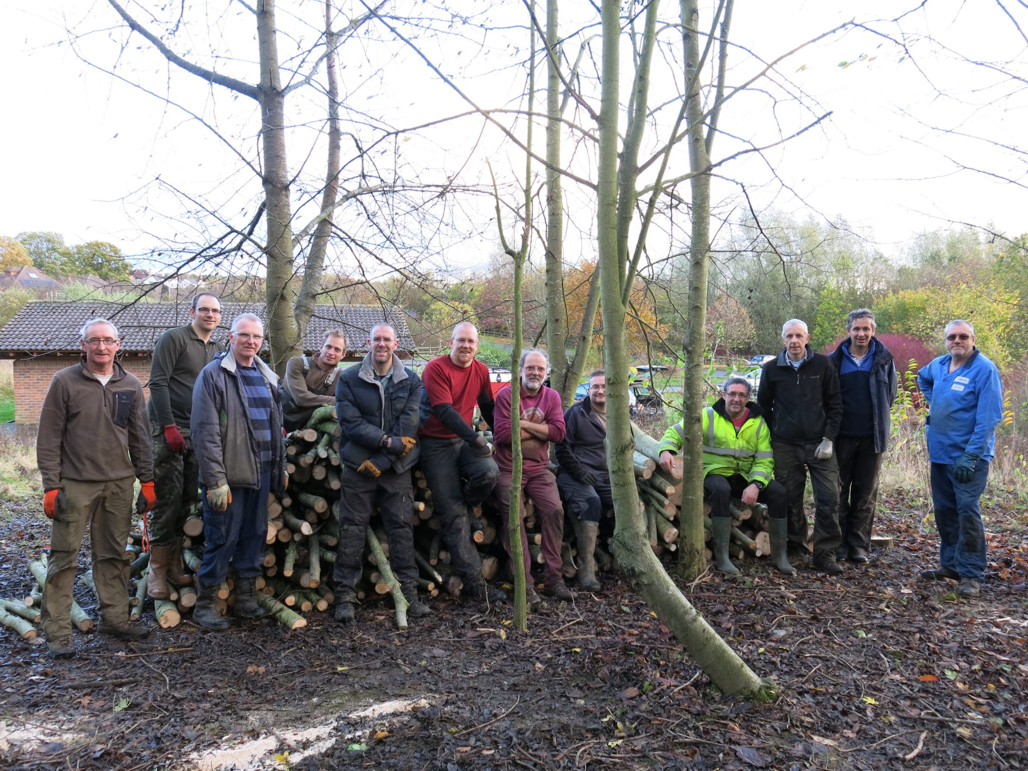 Group of volunteers standing in front of logs felled as part of community woodfuel day