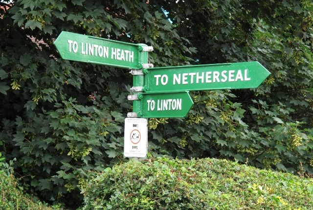 Referbished road sign, signposting to Linton Heath, Netherseal and Linton