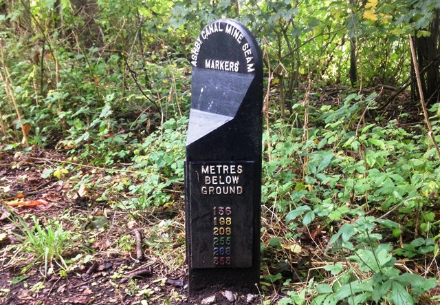 Marker along Ashby canal with depth of coal seams
