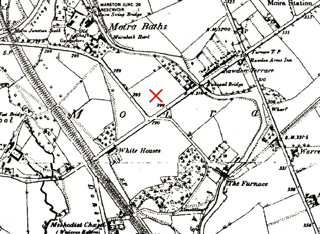 Black and white map of Moira including Moira Baths