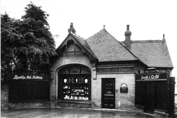 Black and white photograph of the exterior of Bretby art pottery building.