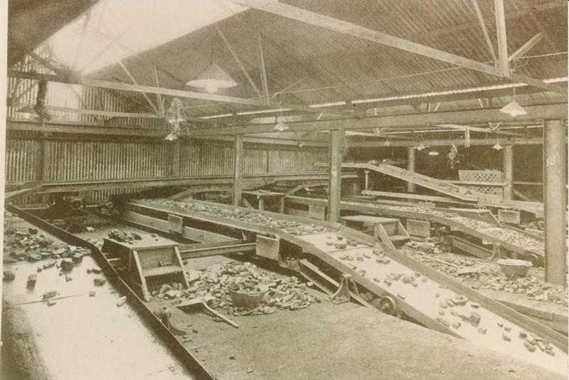 Photo inside Marquis Colliery of the picking and cleaning trays