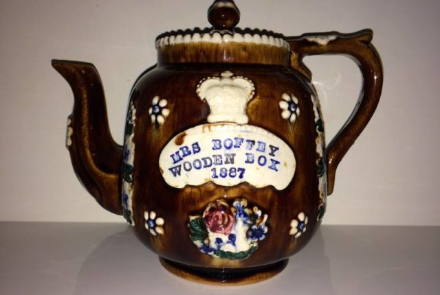 Measham Ware/ Mason & Cash Co Teapot with inscription 'Mrs Boffey Wooden Box 1887'.