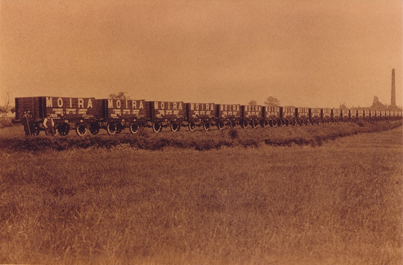 Early photograph of a train of 25 Moira Wagons at Rawdon Colliery Sidings