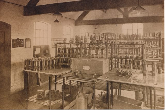 Image of Rawdon Lamp room with rows of miners lamps